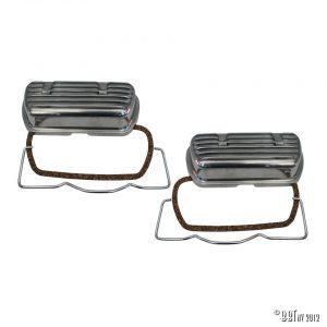 Ventilkåpa Aluminium ventilkåpa med clips och gummi, par [tag]
